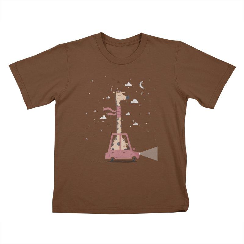 Giraffing Home for Christmas Kids T-Shirt by boney's Artist Shop