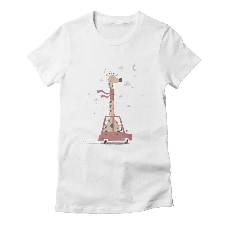 Giraffing Home for Christmas Women's Fitted T-Shirt by boney's Artist Shop