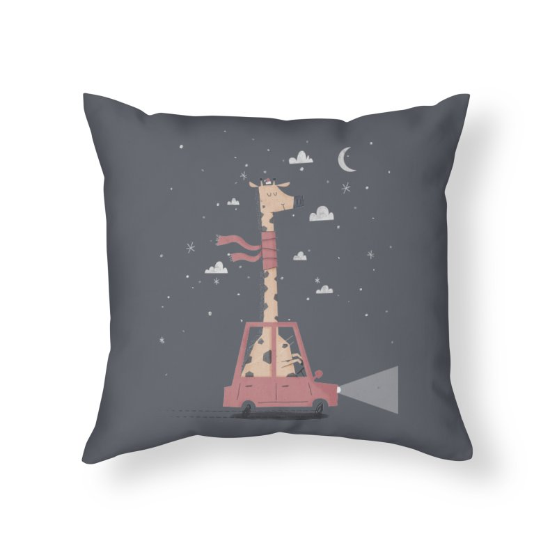 Giraffing Home for Christmas Home Throw Pillow by boney's Artist Shop