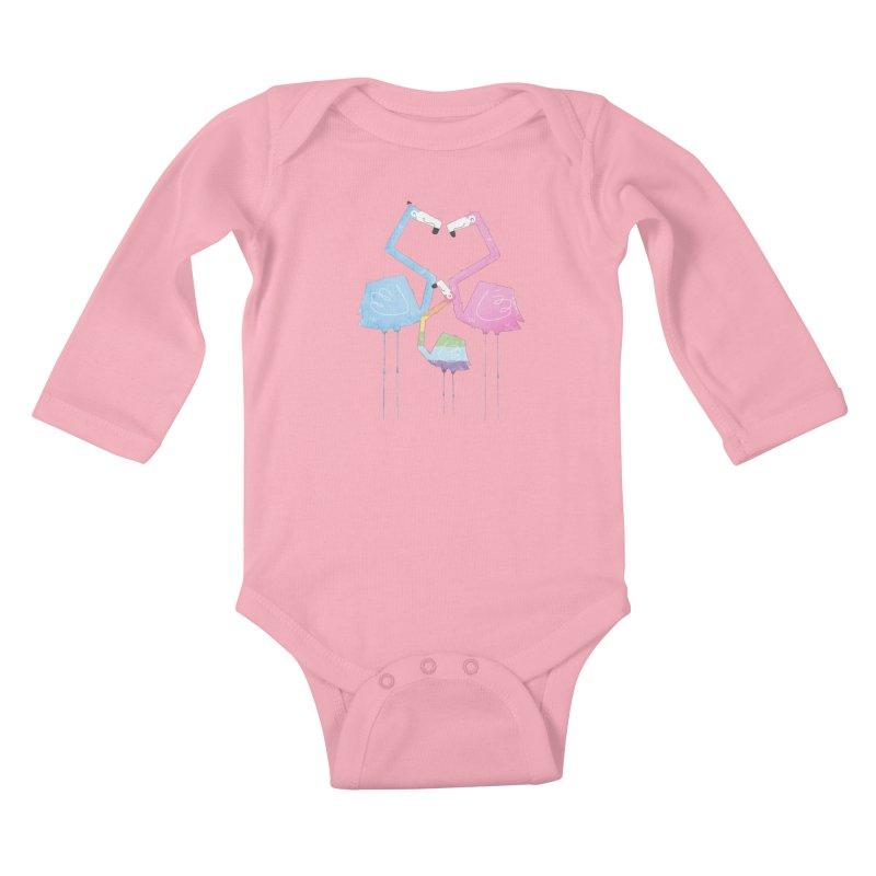 A Fabulous Family of Flamingos (Gay Pride) Kids Baby Longsleeve Bodysuit by boney's Artist Shop