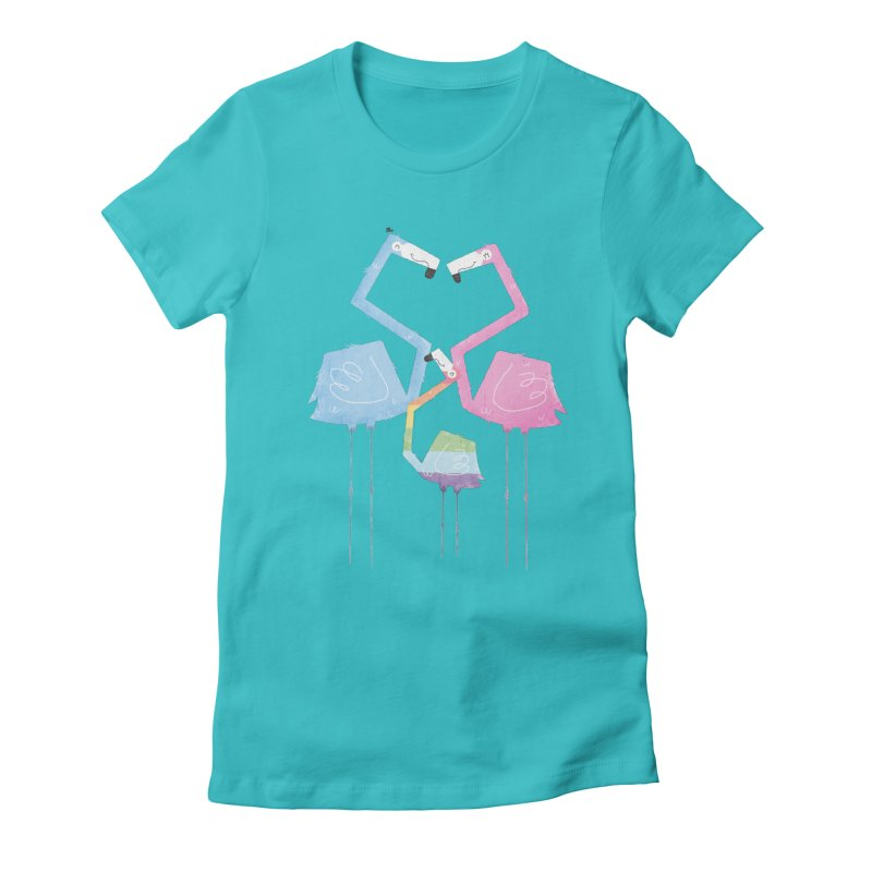 A Fabulous Family of Flamingos (Gay Pride) Women's Fitted T-Shirt by boney's Artist Shop