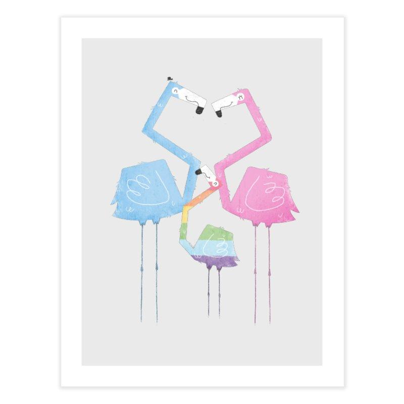 A Fabulous Family of Flamingos (Gay Pride) Home Fine Art Print by boney's Artist Shop