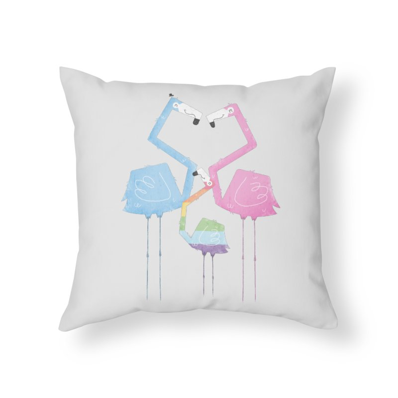 A Fabulous Family of Flamingos (Gay Pride) Home Throw Pillow by boney's Artist Shop