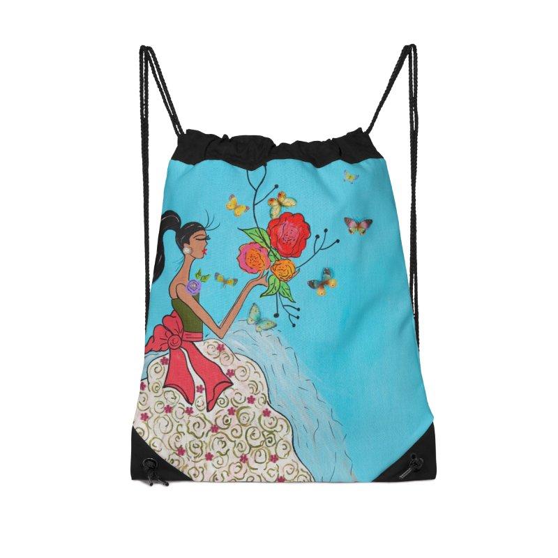 Mariposas Accessories Drawstring Bag Bag by Bonnie Donaghy Art
