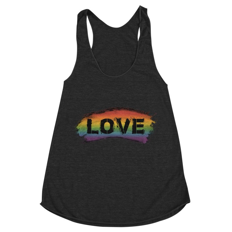 Colors of Love - Black Women's Racerback Triblend Tank by boogleloo's Shop
