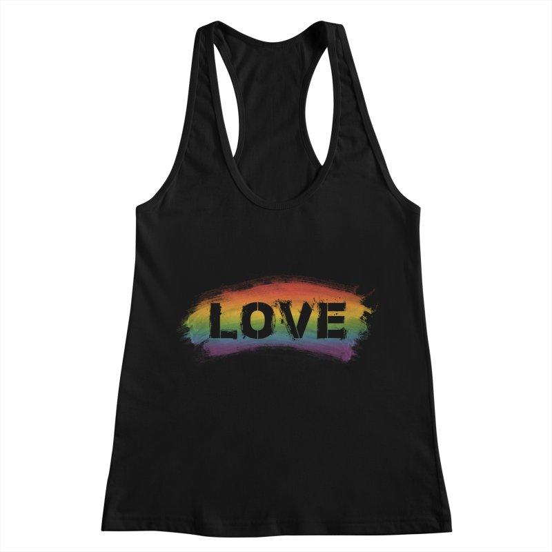 Colors of Love - Black Women's Racerback Tank by boogleloo's Shop