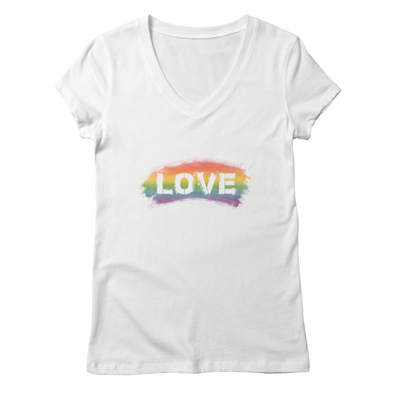 Colors of Love - White Women's V-Neck by boogleloo's Shop