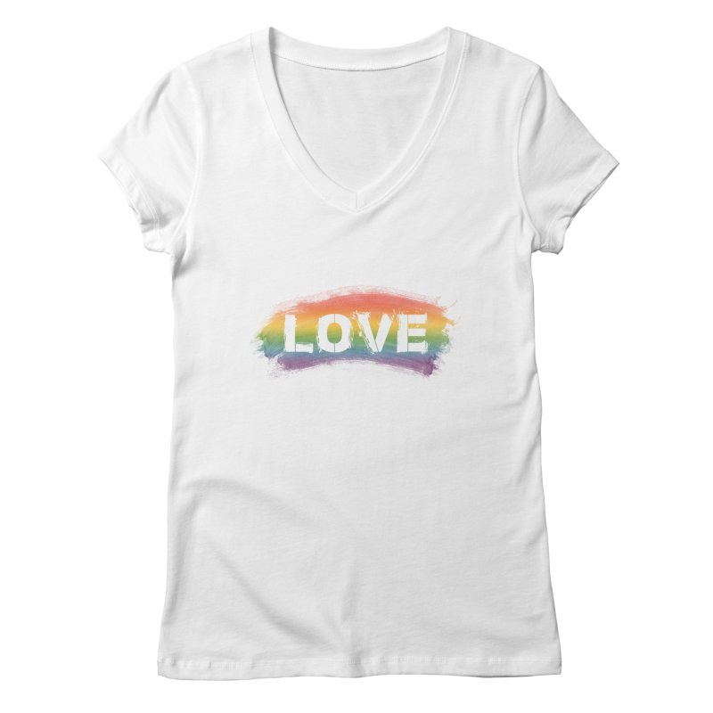 Colors of Love - White Women's Regular V-Neck by boogleloo's Shop