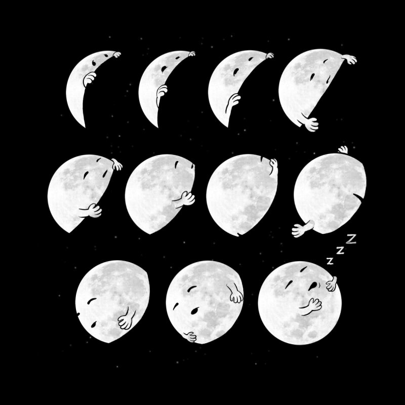Lunar Phases of Sleep Women's Longsleeve T-Shirt by booster's Artist Shop