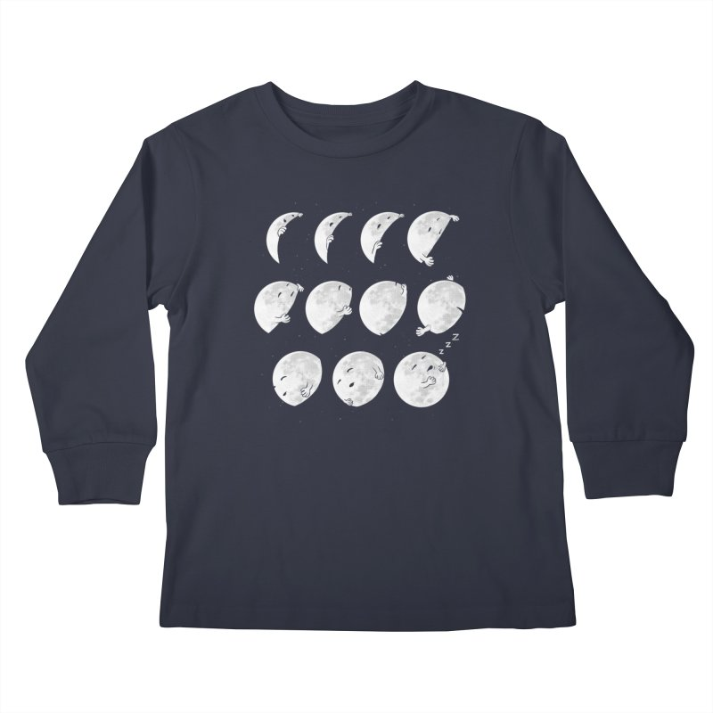 Lunar Phases of Sleep Kids Longsleeve T-Shirt by booster's Artist Shop