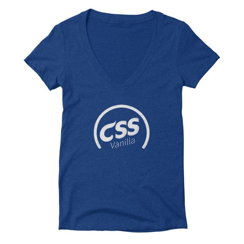 Plain CSS (white) Women's Deep V-Neck V-Neck by Border_Top