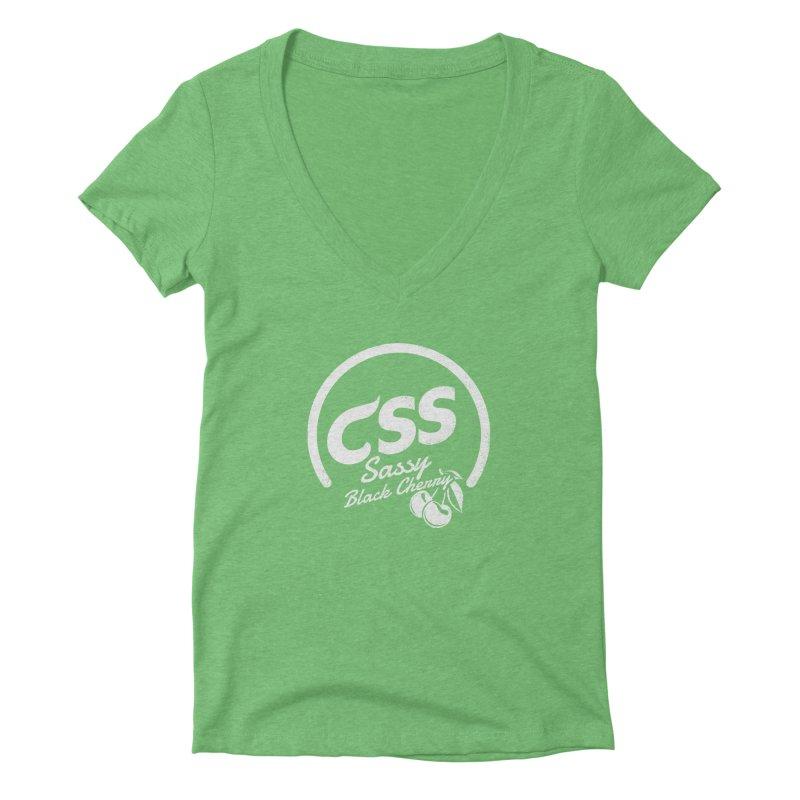 Sassy CSS (white) Women's Deep V-Neck V-Neck by Border_Top