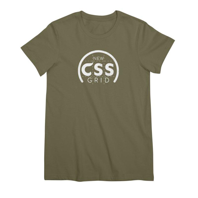 CSS Grid (white) Women's Premium T-Shirt by Border_Top