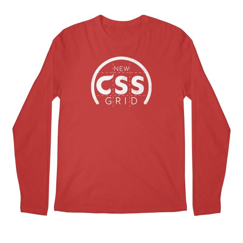 CSS Grid (white) Men's Regular Longsleeve T-Shirt by Border_Top