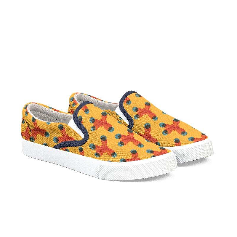 Orange Methane Molecule Chemistry Geek Men's Slip-On Shoes by Boriana's Artist Shop