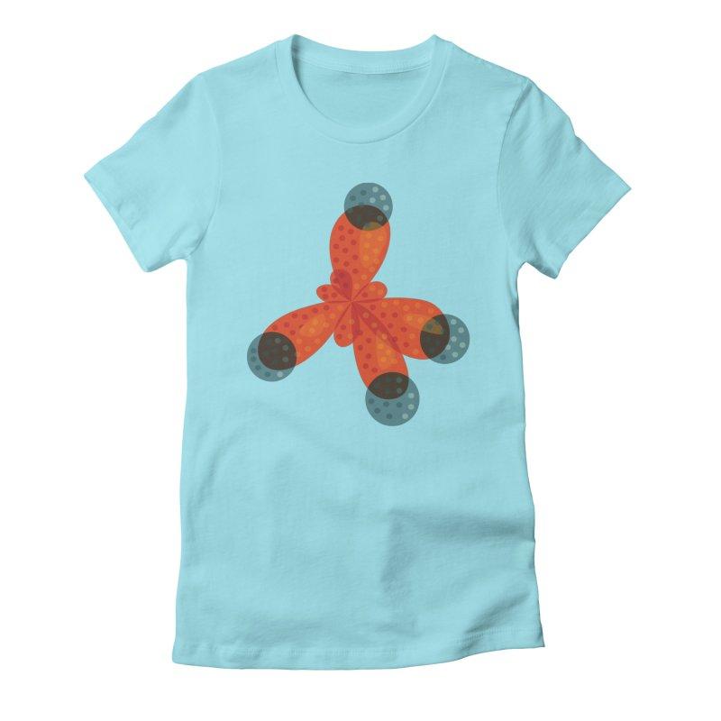 Orange Methane Molecule Chemistry Geek Women's Fitted T-Shirt by Boriana's Artist Shop