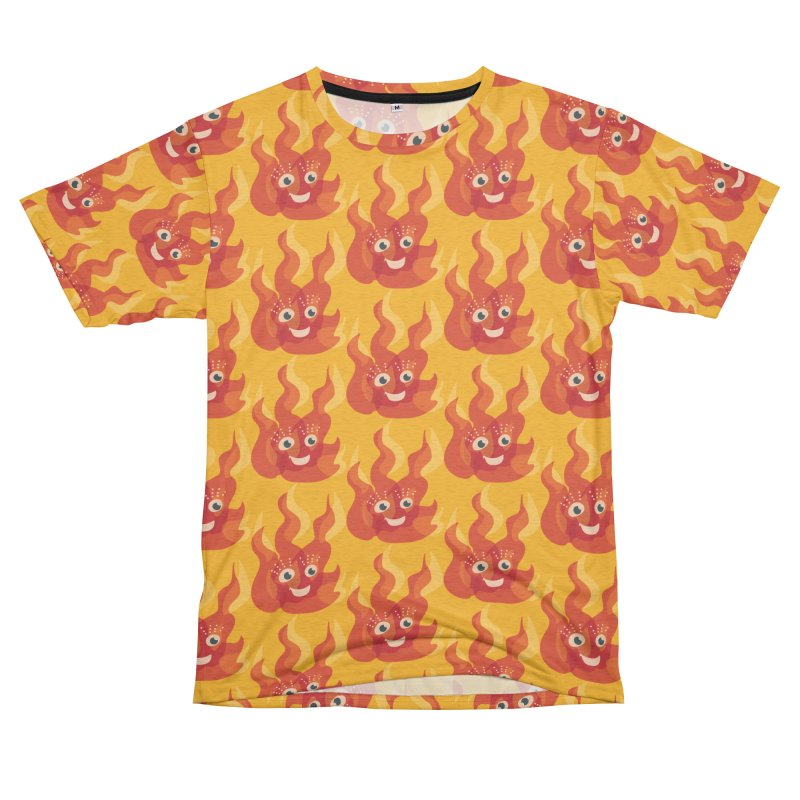 Cute Fire Flame Character Men's French Terry T-Shirt Cut & Sew by Boriana's Artist Shop