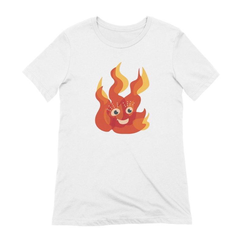 Cute Fire Flame Character Women's Extra Soft T-Shirt by Boriana's Artist Shop
