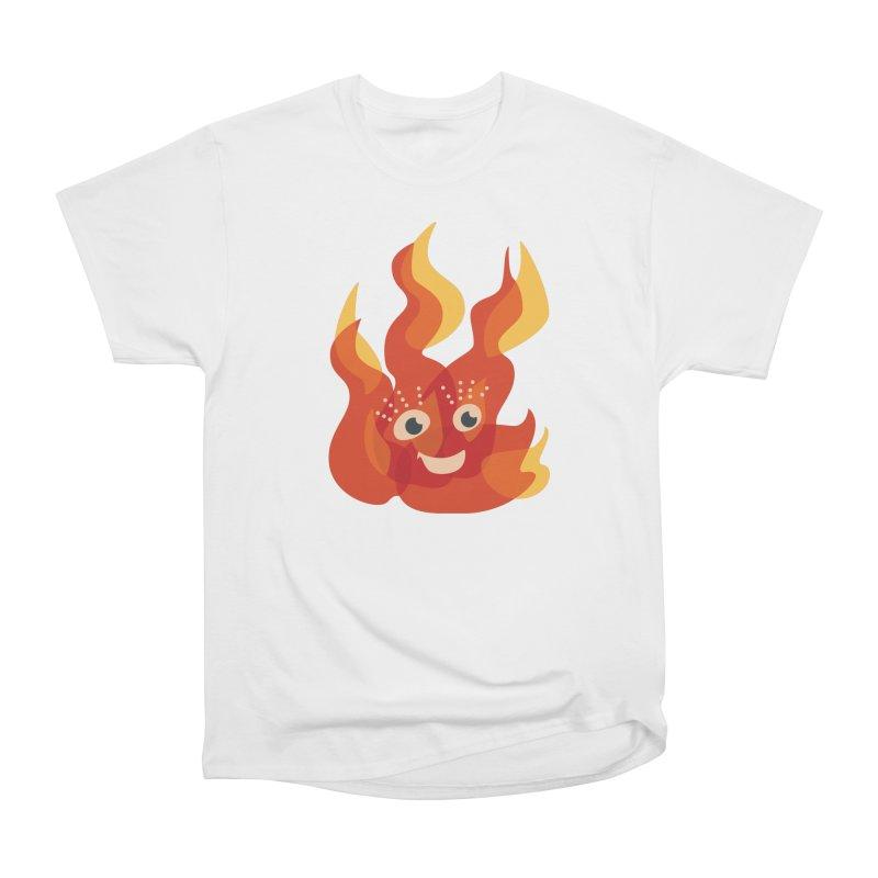 Cute Fire Flame Character Men's Heavyweight T-Shirt by Boriana's Artist Shop