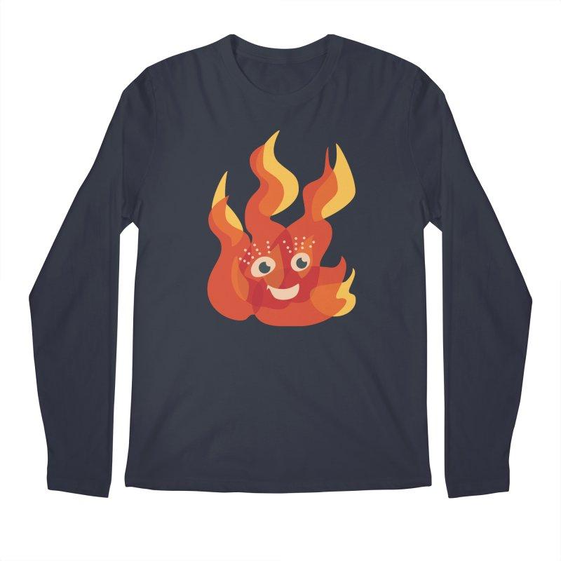 Cute Fire Flame Character Men's Regular Longsleeve T-Shirt by Boriana's Artist Shop