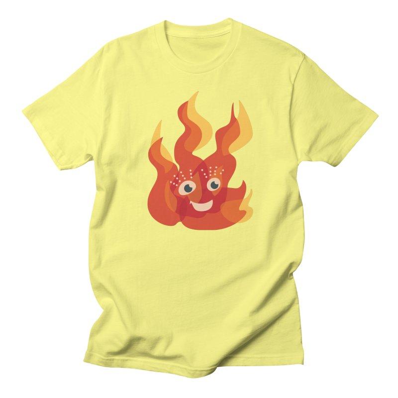 Cute Fire Flame Character Women's Regular Unisex T-Shirt by Boriana's Artist Shop