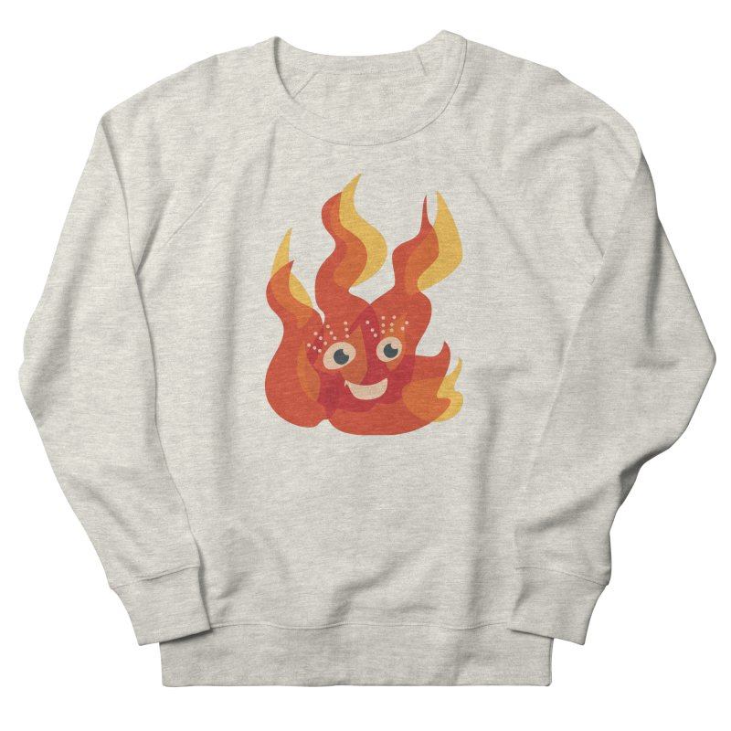 Cute Fire Flame Character Women's French Terry Sweatshirt by Boriana's Artist Shop
