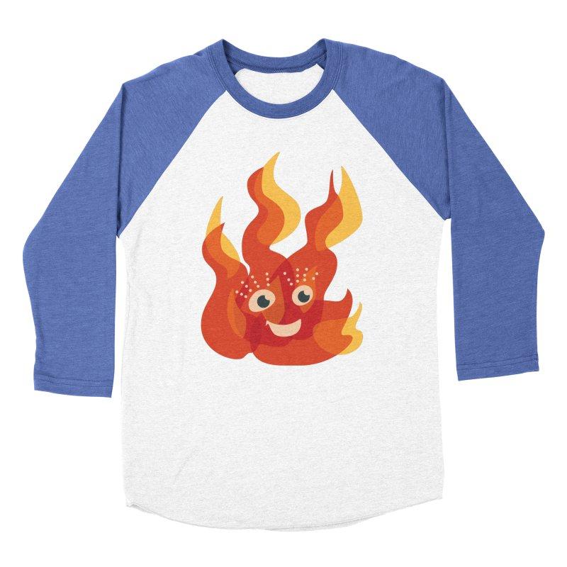 Cute Fire Flame Character Women's Baseball Triblend Longsleeve T-Shirt by Boriana's Artist Shop