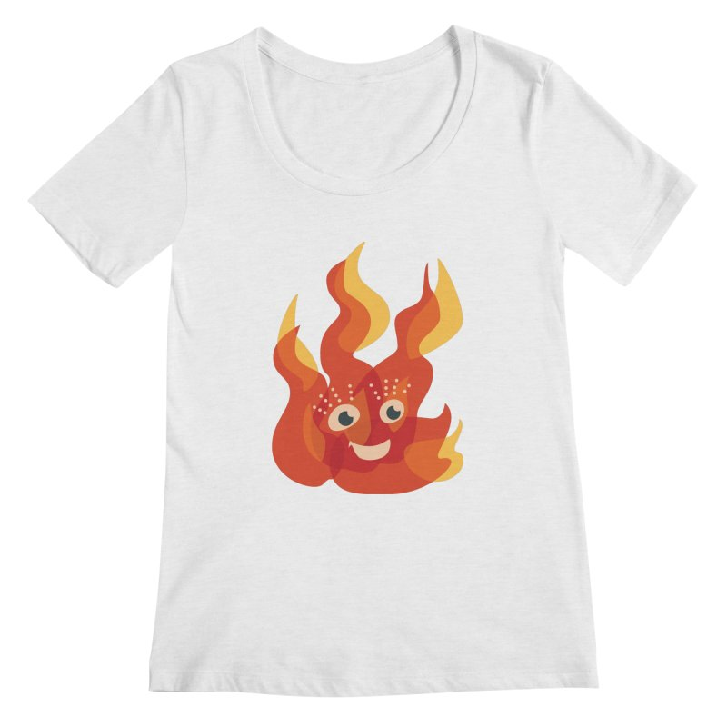 Cute Fire Flame Character Women's Regular Scoop Neck by Boriana's Artist Shop