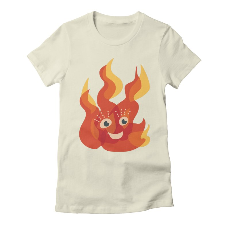 Cute Fire Flame Character Women's Fitted T-Shirt by Boriana's Artist Shop
