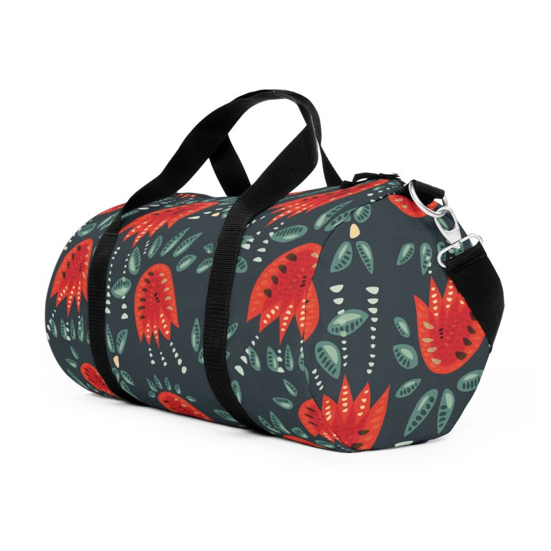 Red Tulips Decorative Abstract Dark Floral Pattern Accessories Duffel Bag Bag by Boriana's Artist Shop