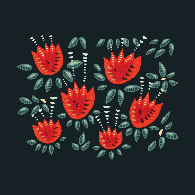 Red Tulips Decorative Abstract Dark Floral Pattern by Boriana's Artist Shop