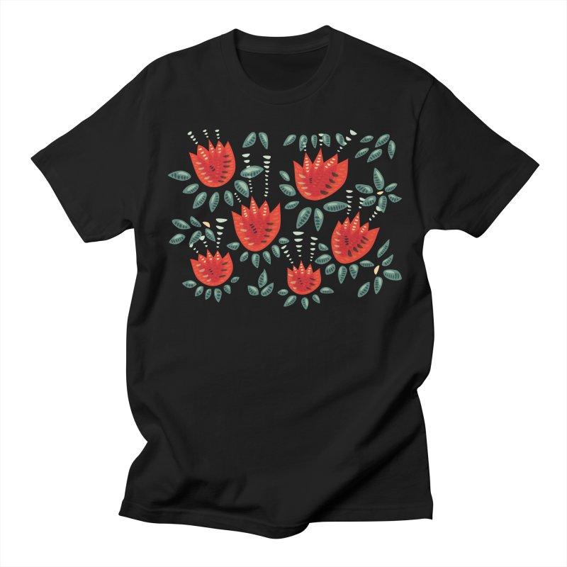 Red Tulips Decorative Abstract Dark Floral Pattern Women's Regular Unisex T-Shirt by Boriana's Artist Shop