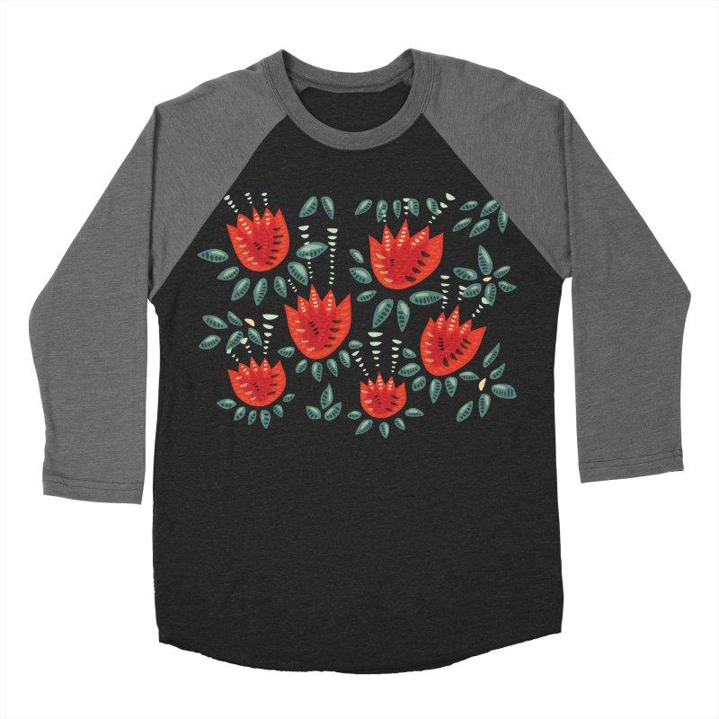 Red Tulips Decorative Abstract Dark Floral Pattern Women's Baseball Triblend Longsleeve T-Shirt by Boriana's Artist Shop