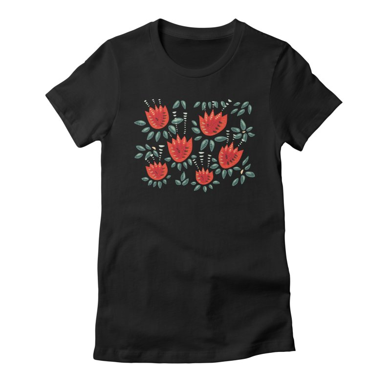 Red Tulips Decorative Abstract Dark Floral Pattern Women's Fitted T-Shirt by Boriana's Artist Shop