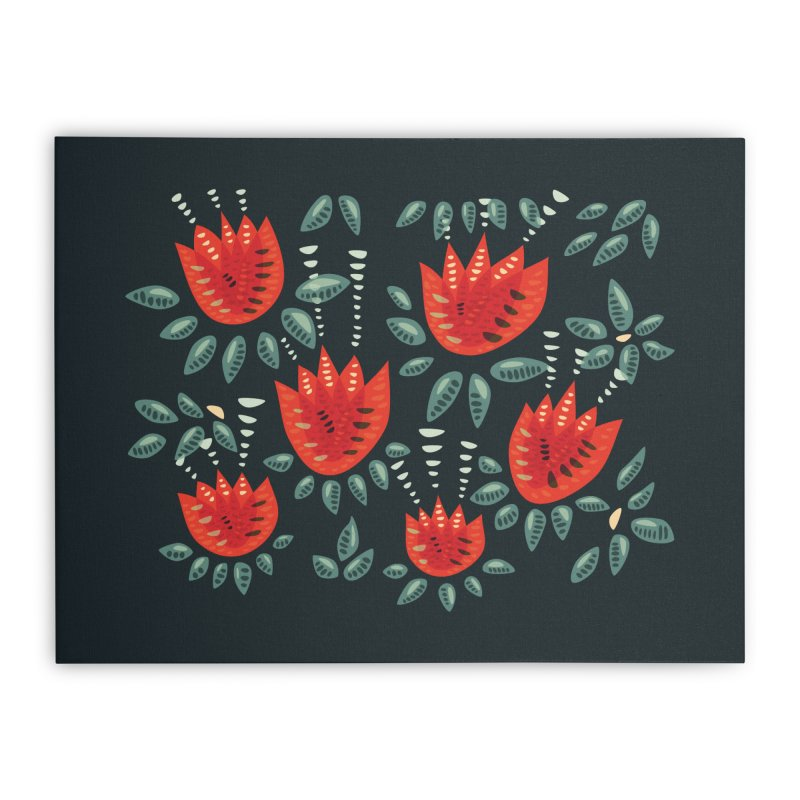 Red Tulips Decorative Abstract Dark Floral Pattern Home Stretched Canvas by Boriana's Artist Shop