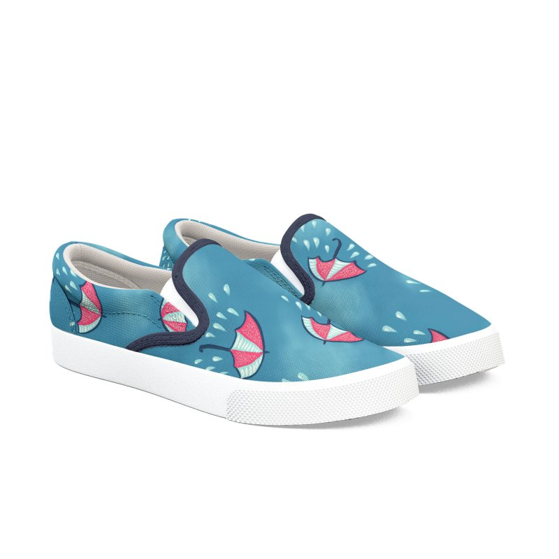 Fun Raining Cartoon Umbrella Pattern Women's Slip-On Shoes by Boriana's Artist Shop