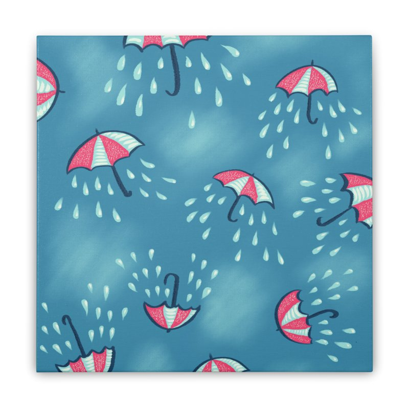 Fun Raining Cartoon Umbrella Pattern Home Stretched Canvas by Boriana's Artist Shop
