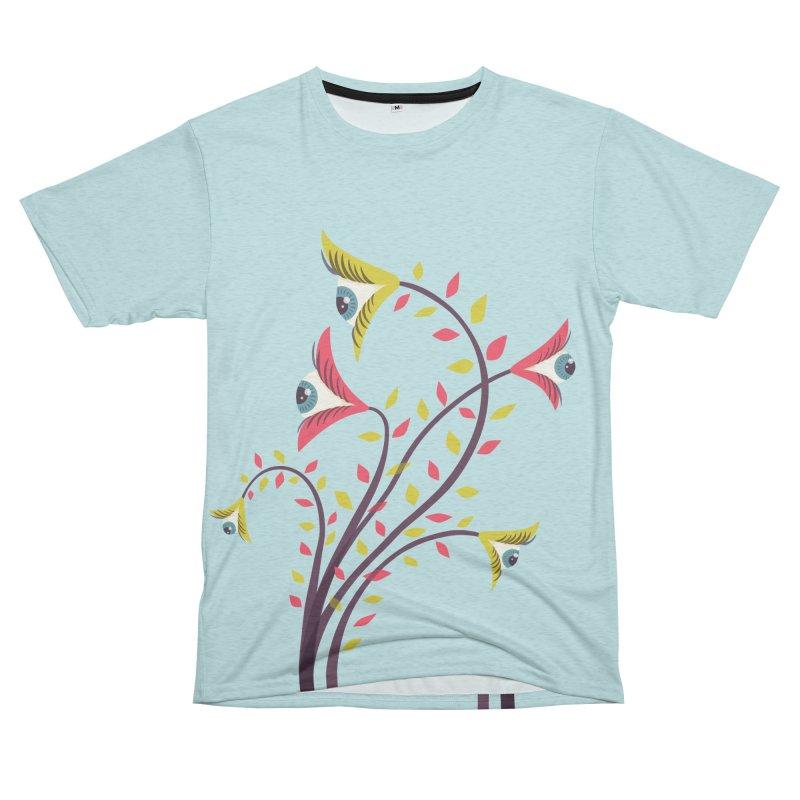 Trippy Eye Flowers Watching Men's French Terry T-Shirt Cut & Sew by Boriana's Artist Shop