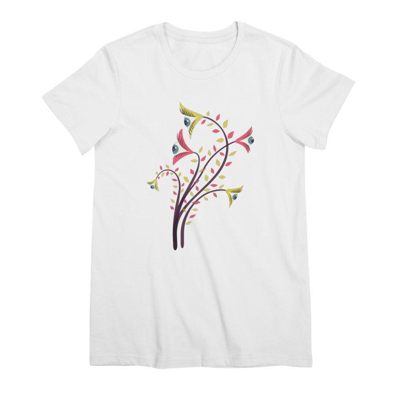 Trippy Eye Flowers Watching Women's Premium T-Shirt by Boriana's Artist Shop