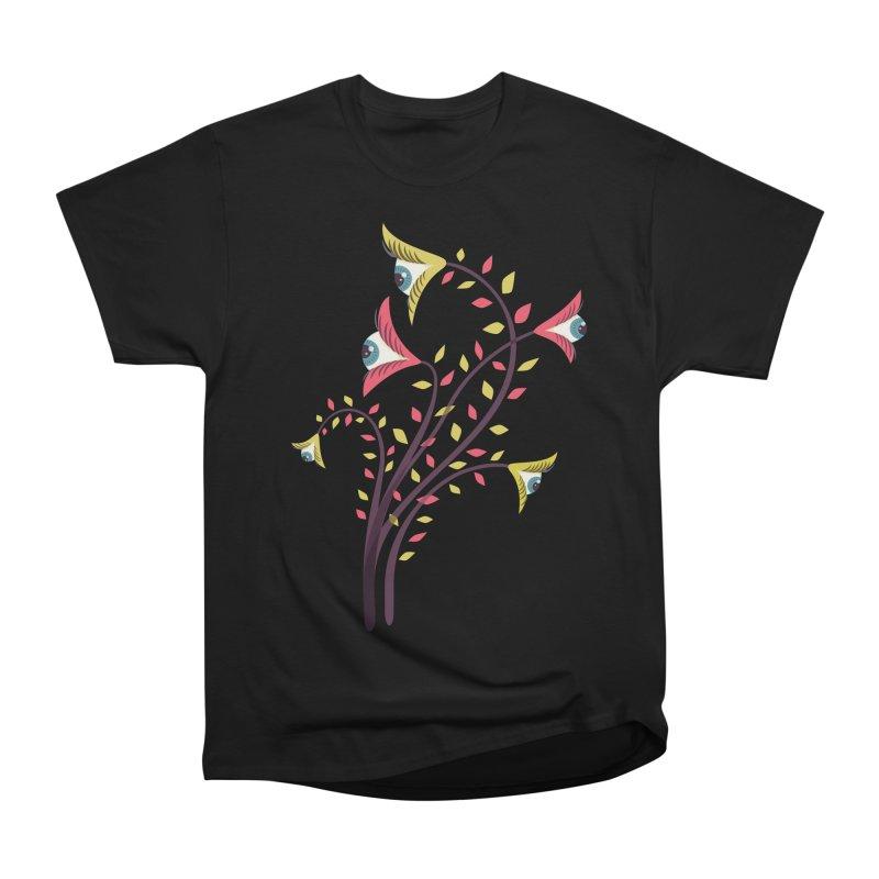Trippy Eye Flowers Watching Men's Heavyweight T-Shirt by Boriana's Artist Shop