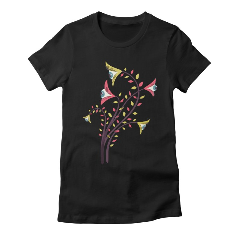 Trippy Eye Flowers Watching Women's Fitted T-Shirt by Boriana's Artist Shop