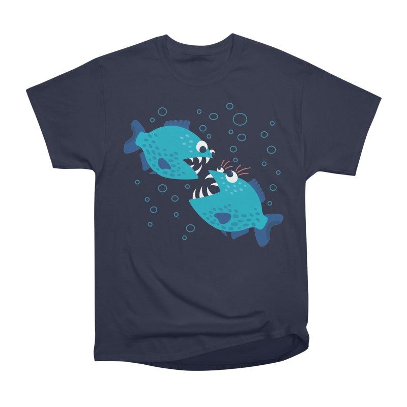 Funny Cartoon Piranha Fish Men's Heavyweight T-Shirt by Boriana's Artist Shop