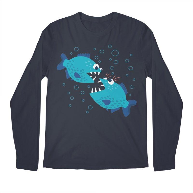 Funny Cartoon Piranha Fish Men's Regular Longsleeve T-Shirt by Boriana's Artist Shop