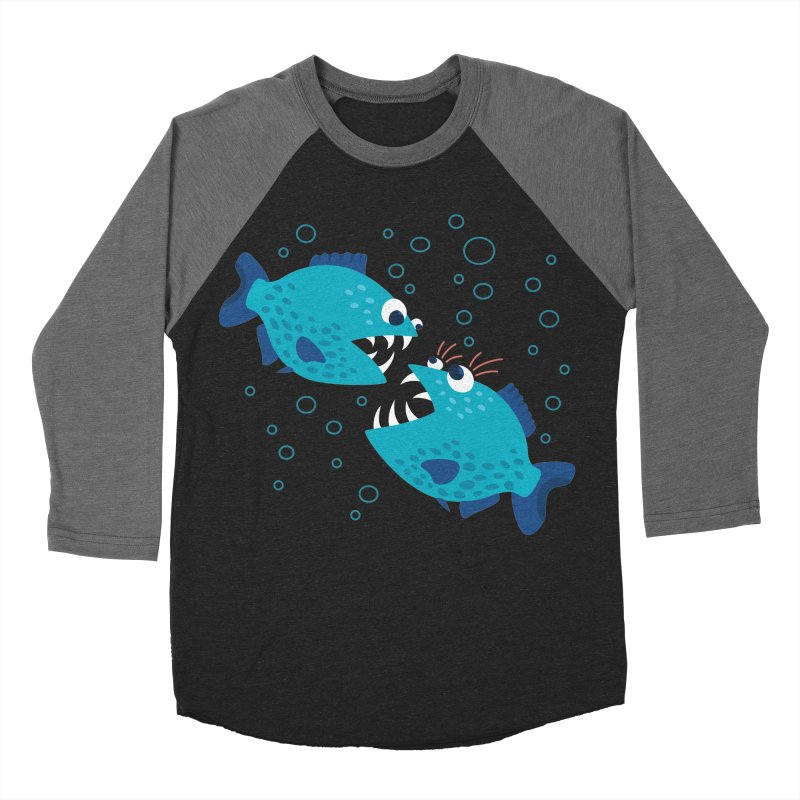 Funny Cartoon Piranha Fish Women's Baseball Triblend Longsleeve T-Shirt by Boriana's Artist Shop