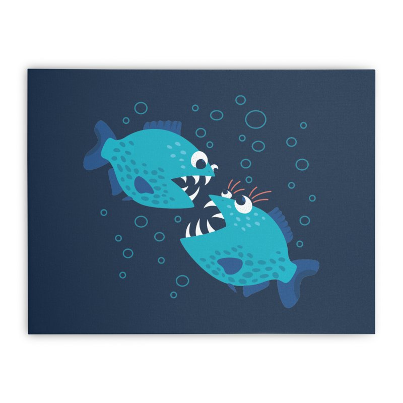 Funny Cartoon Piranha Fish Home Stretched Canvas by Boriana's Artist Shop