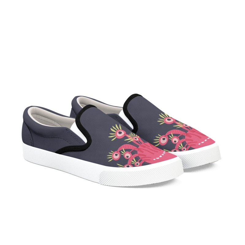 Funny Pink Monster With Eleven Eyes Women's Slip-On Shoes by Boriana's Artist Shop