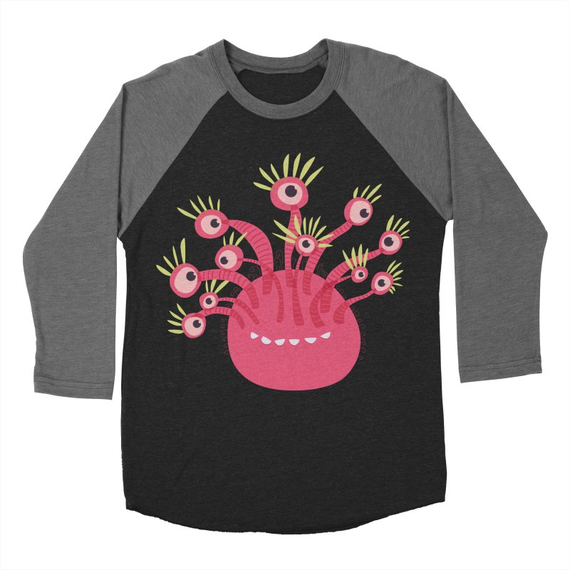 Funny Pink Monster With Eleven Eyes Women's Baseball Triblend Longsleeve T-Shirt by Boriana's Artist Shop