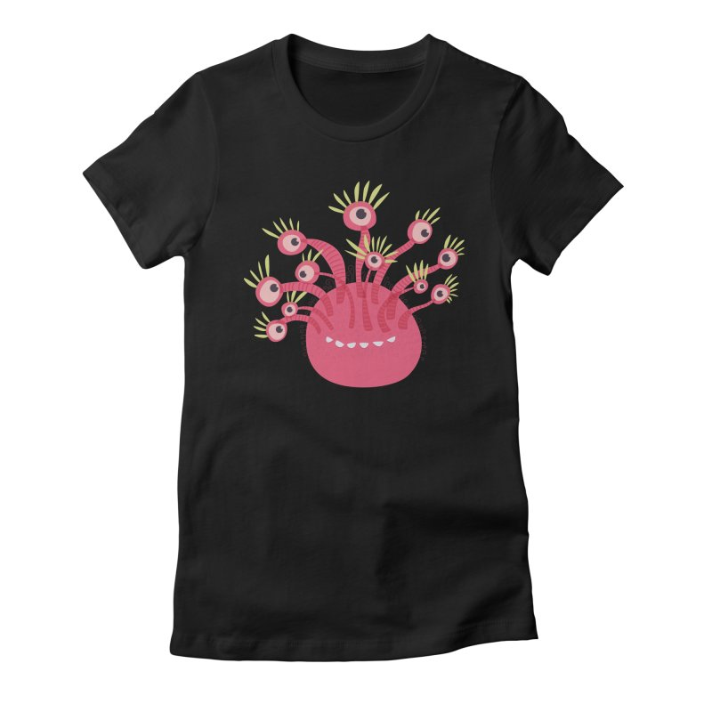 Funny Pink Monster With Eleven Eyes Women's Fitted T-Shirt by Boriana's Artist Shop