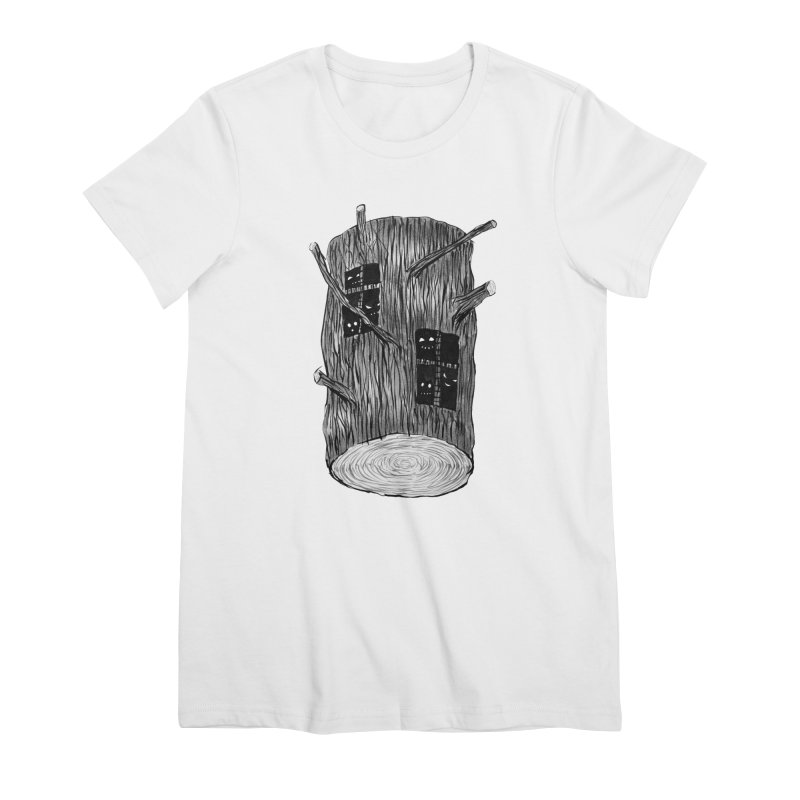 Tree Log With Forest Creatures Women's Premium T-Shirt by Boriana's Artist Shop