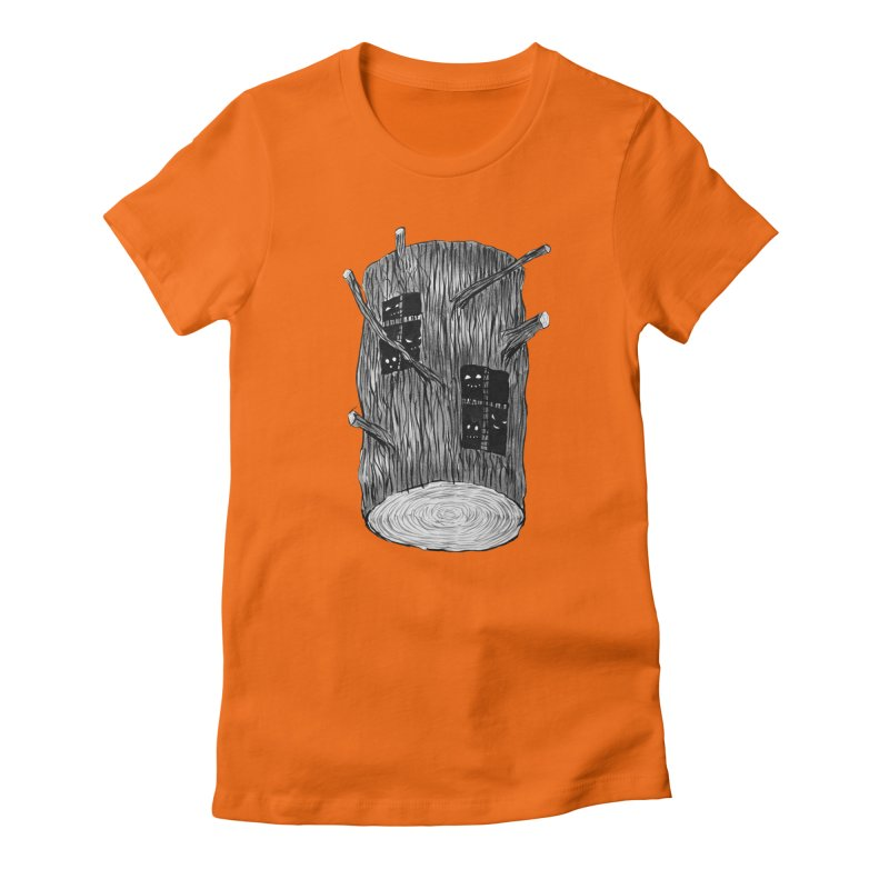 Tree Log With Forest Creatures Women's Fitted T-Shirt by Boriana's Artist Shop